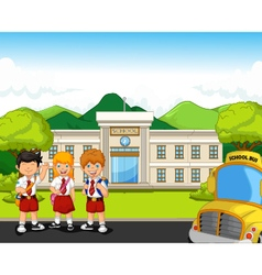 Funny student with school building and school bus vector