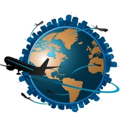 Airplane travelling around the globe travel concep vector