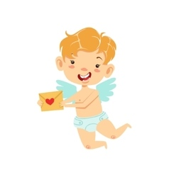 Boy baby cupid delivering love letter winged vector