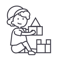 boy playing with toysbox of bricks line vector image vector image