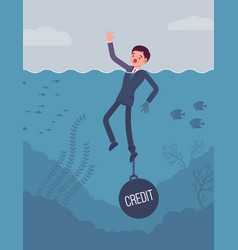 businessman drowning chained with a weight credit vector image vector image