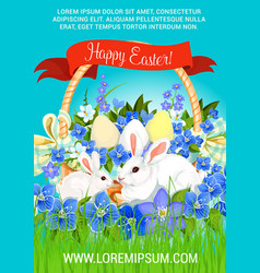 Easter paschal hunt eggs and bunnies poster vector