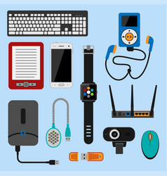 electronic gadgets icons technology electronics vector image