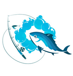 fish in water and fishing rod vector image