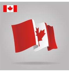 Flat and waving Canadian Flag vector image