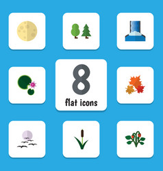 Flat icon bio set of berry forest lotus and vector