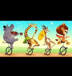 Funny wild animals on unicycles vector