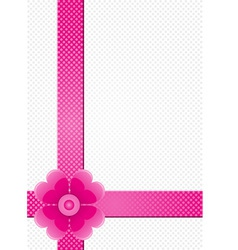 gray background with pink stripes and a flower vector image