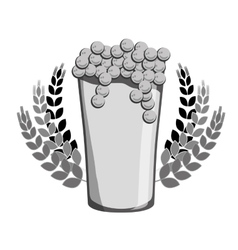 grayscale beer with branches wheat icon image vector image