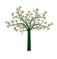 Green tree and orange fruits vector