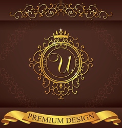 Letter U Luxury Logo template flourishes vector image