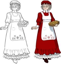 Mrs Santa Claus Mother Christmas character vector image vector image