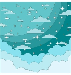 Night Sky with Stars in the Clouds Stock vector image