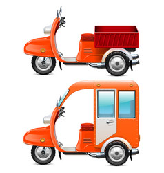 orange scooters set 2 vector image vector image