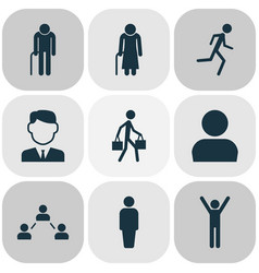 person icons set collection of delivery person vector image vector image