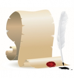 quill and paper with seal vector image