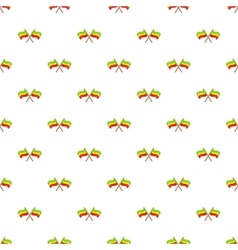 Rastafarian crossed flags pattern cartoon style vector