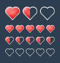 Red hearts with filling rating status icons vector image vector image