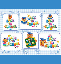 Set of stickers template for back to school vector
