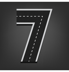 Seven number road font vector