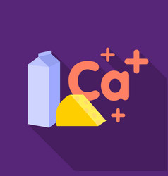 Sources of calcium icon in flat style isolated on vector