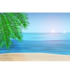 The sea palm trees and tropical beach under blue vector image