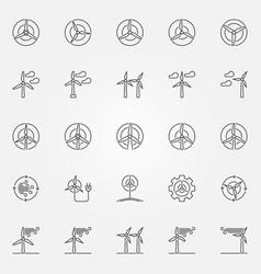 wind turbine icons set vector image vector image