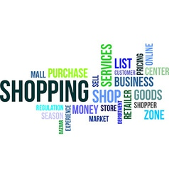 word cloud shopping vector image vector image
