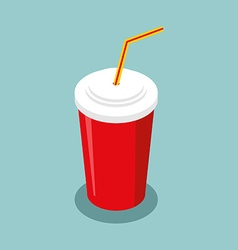 Red disposable paper cup with straw isometrics vector