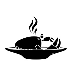 Silhouette monochrome dish with hot crab vector