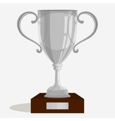 Silver trophy cup vector image