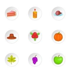 Gratitude celebration icons set cartoon style vector