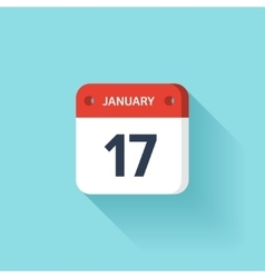 January 17 isometric calendar icon with shadow vector