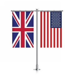 Uk and usa flags hanging together vector