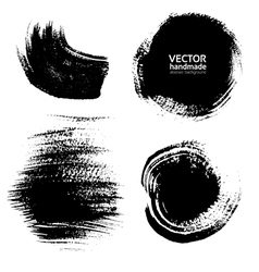 Smears and fingerprints thick black paint vector