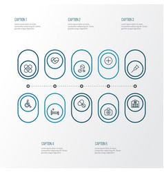 Drug outline icons set collection of bed vector