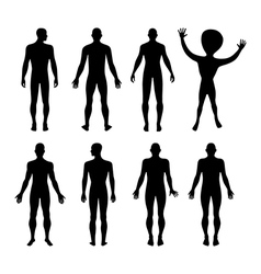 Set of full length front back silhouette of man vector