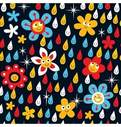 Flowers in rain pattern vector