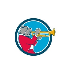 Bulldog blowing trumpet side circle cartoon vector