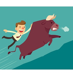 bussiness man on a bull vector image