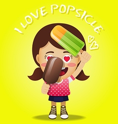 Happy woman holding big frozen popsicle vector