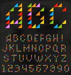 Colorful triangle font vector