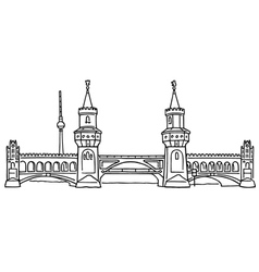 Oberbaum bridge in berlin vector