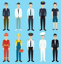 Set of colorful profession man flat style icons vector