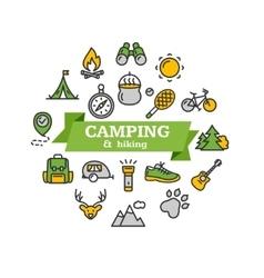 Camping tourism hiking concept vector