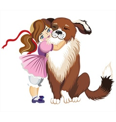 Cute toddler hugging a dog vector