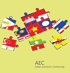 Asean economic community aec jigsaw concept vector