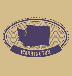 Washington map silhouette - oval stamp vector