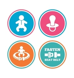 Baby infants icons Fasten seat belt symbols vector image vector image