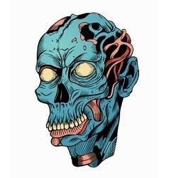 Blue zombie head vector